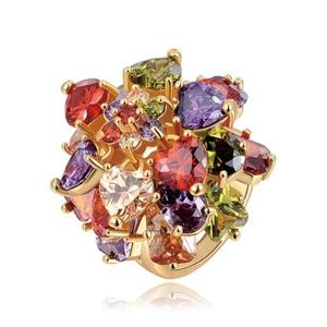 Luxury Multi Color Crystal Big Flower Chunky Ring